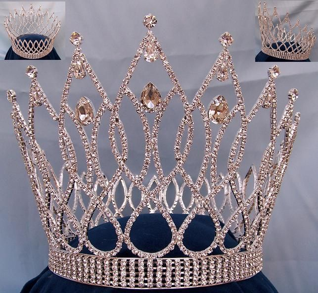 """Exquisite Teardrop Crown This crown is breath taking! Popular for beauty pageants, prom queens, and Mardis Gras. 7"""" high x 7"""" diameter full 5 rows base crown. Set with the finest clear genuine Swarovs"""