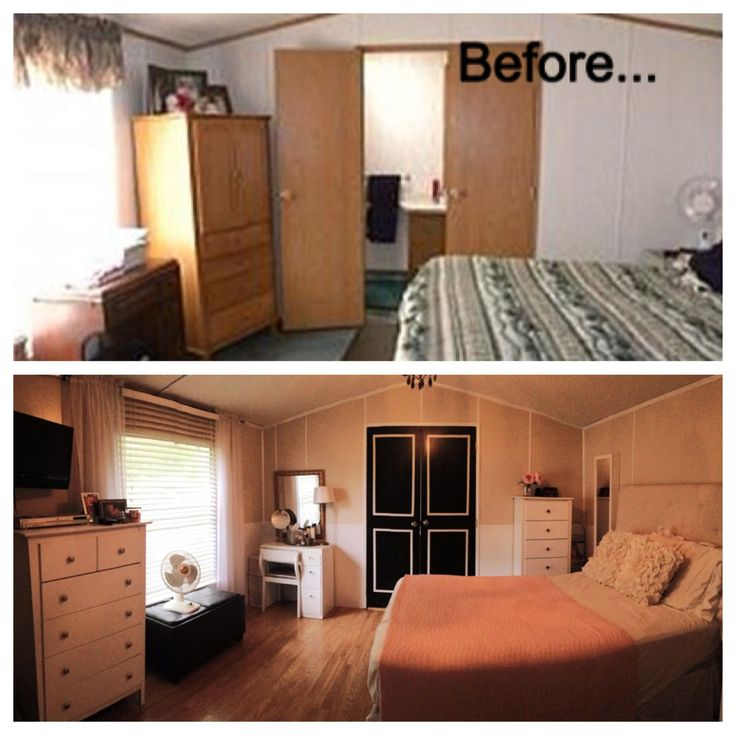 Before and after single wide trailer manufactured mobile Small bedroom renovation ideas