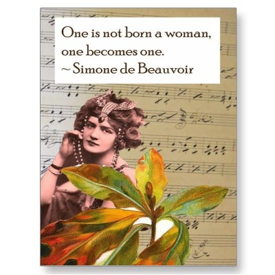 Simone de Beauvoir Quote Collage Postcard-I need to send these out to quite a few people!
