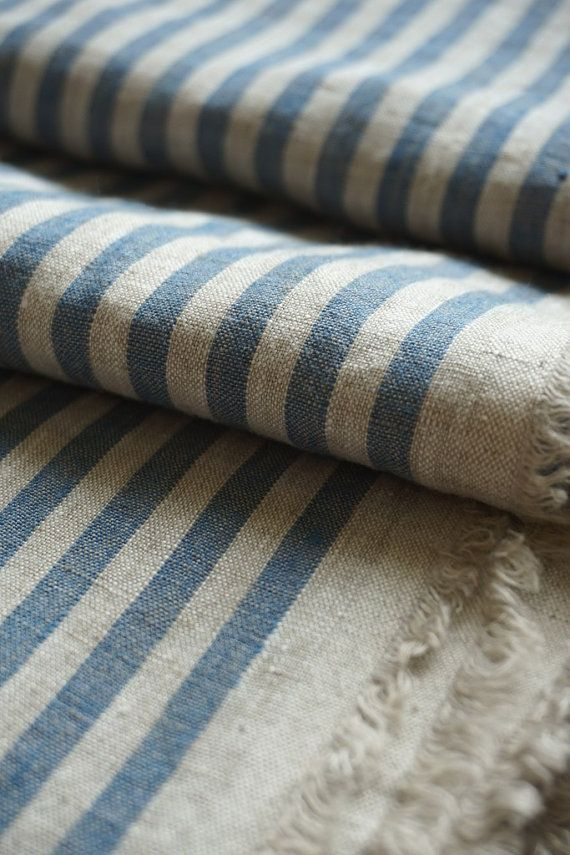 Pure linen fabric with gray and blue stripes-natural by LINENstep