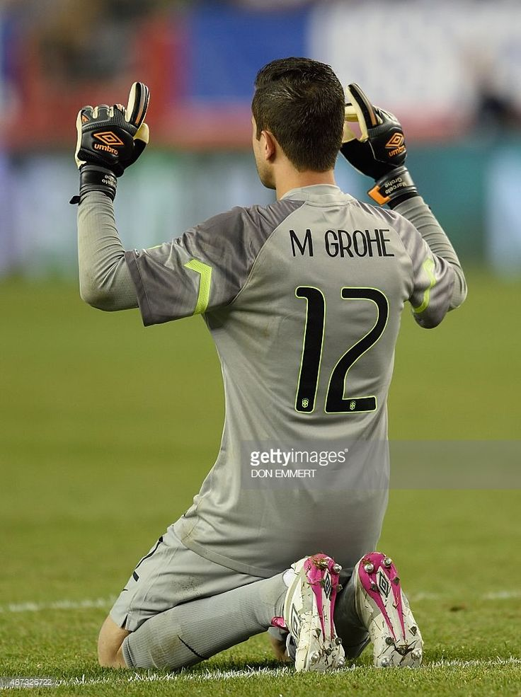 Brazil's Marcelo Grohe celebrates the first goal by Brazil's Neymar during the friendly match between the USA and Brazil September 8, 2015 at Gillette Stadium in Foxborough, Massachusetts.