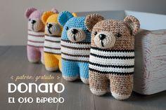 El oso Bípedo Donato Amigurumi - Patrón Gratis en Español e Inglés aquí: http://www.lanukas.com/2015/01/el-oso-bipedo-donato.html