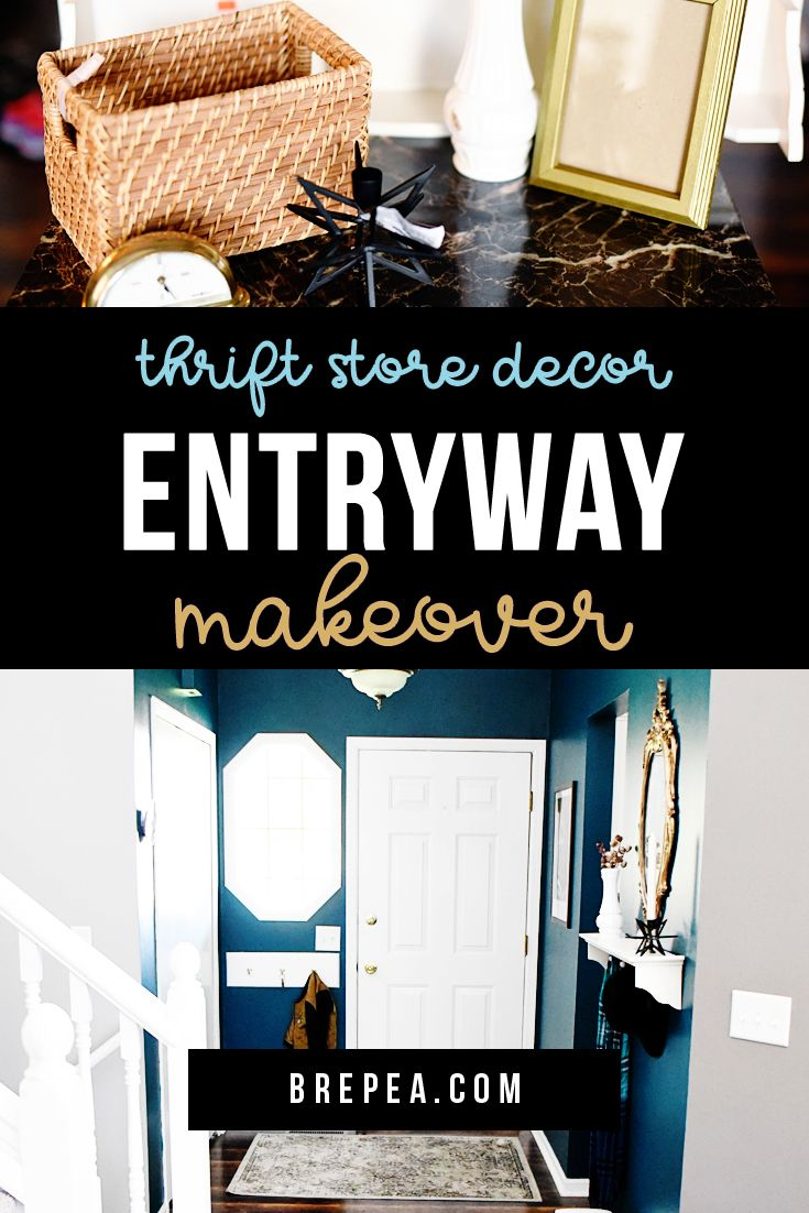 Mini Home Tour Pea Blue Thrifted Entryway Decor Makeover Bre Homedecor Pinterest Diy And