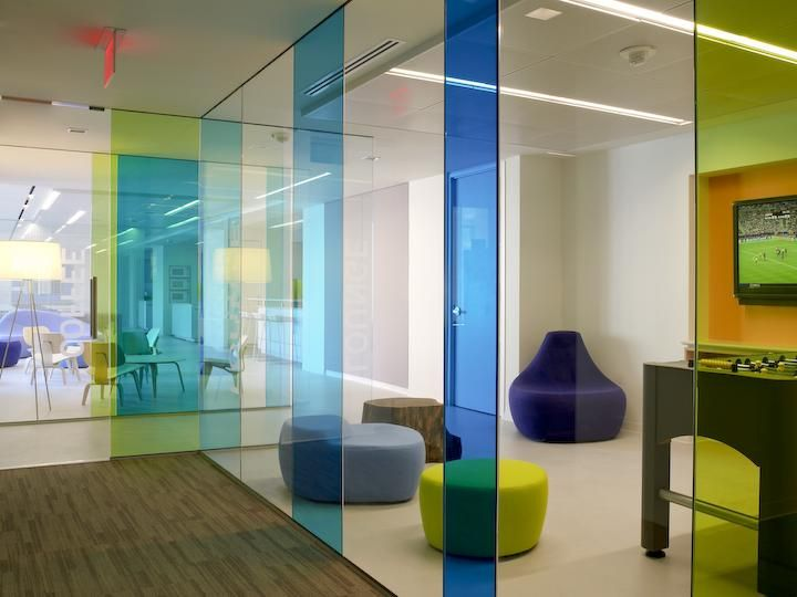 105 best images about colorful workplaces on pinterest for Office design glass