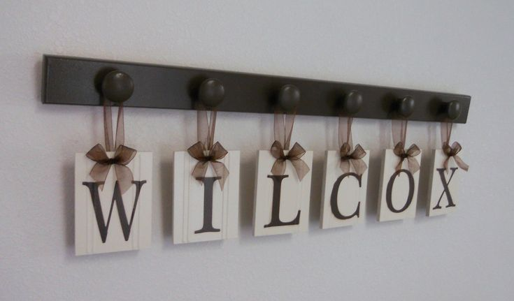 Wedding Gift - Gifts for Wedding Couple - Personalized Wall Decor for WILCOX - Brown Wood 6 Peg Hanger - Unique Bride and Groom Gift. $29.00, via Etsy.