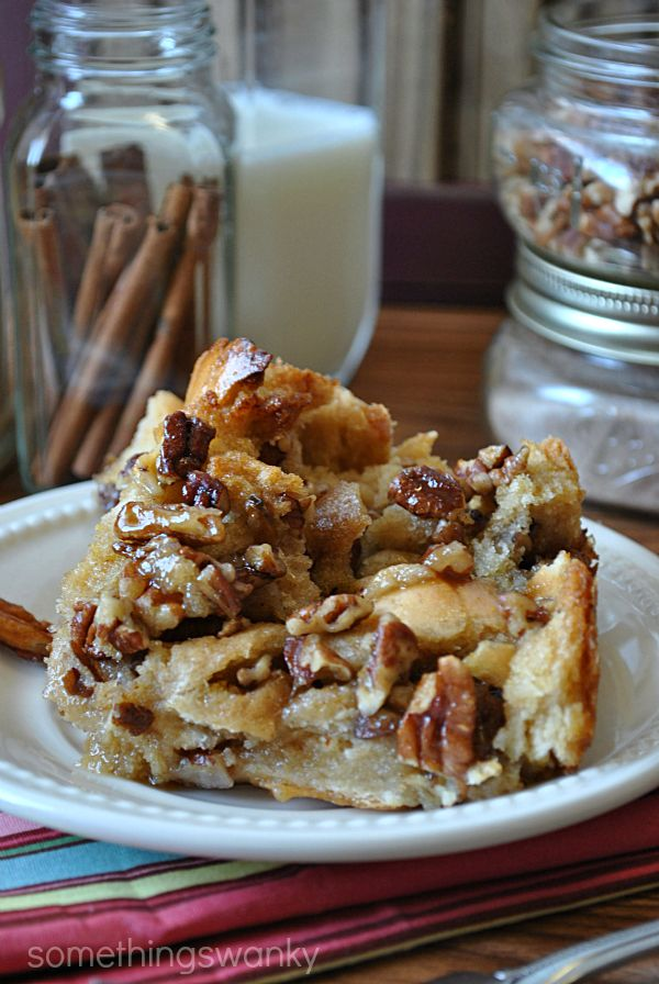 Pecan Pie Bread Pudding. I would substitute honey for the corn syrup.