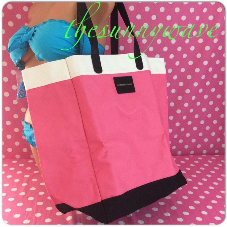 NEW VICTORIA'S SECRET Pink Canvas beach travel weekend overnight school tote bag #VictoriasSecret #TotesShoppers