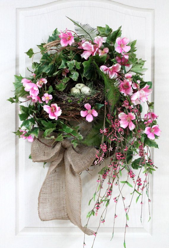 Spring Wreath Front Door Wreath Country Nest by FloralsFromHome