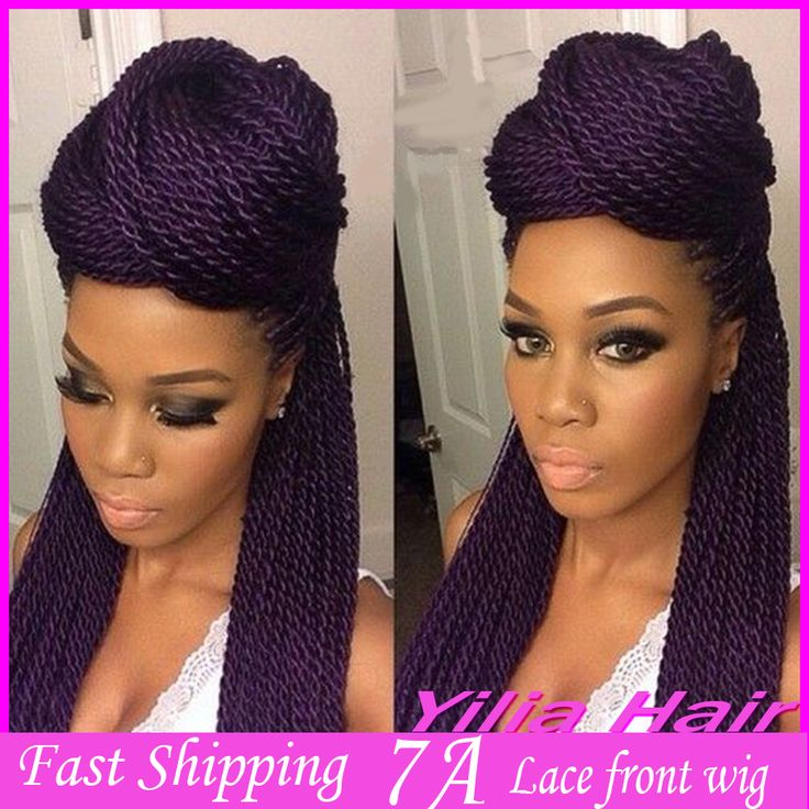 African American Purple Color Hair Kanekalon Braiding Synthetic Twist Braided Lace Front Wigs For Black Women