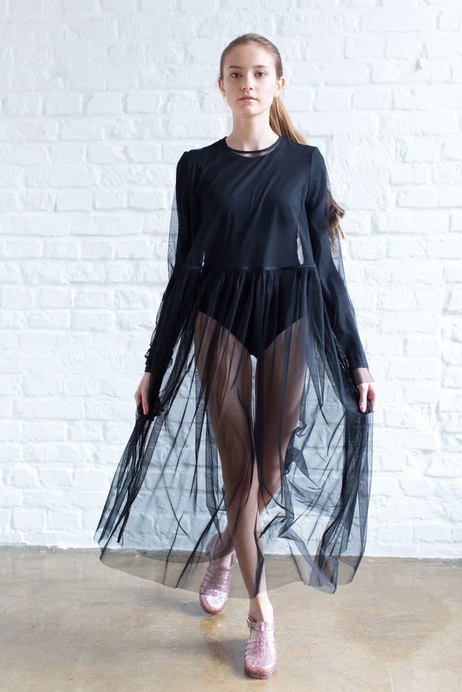 Платье прозрачное черное / Transparent dress black