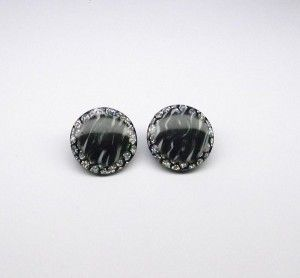 Black & Silver Acrylic Clip On Earrings