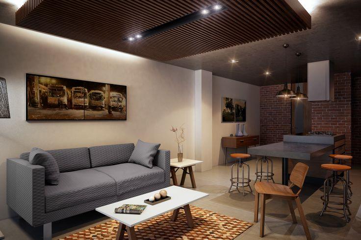 Render Sala - Cocina Interior Departamento - EVA3D