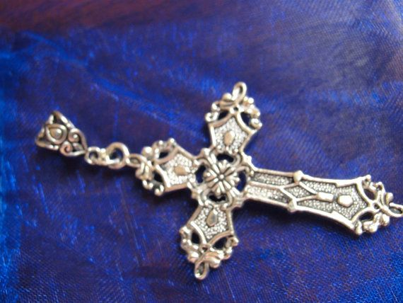 Large Silver Cross Pendant Ornate Flat Back by ThunderellaStore
