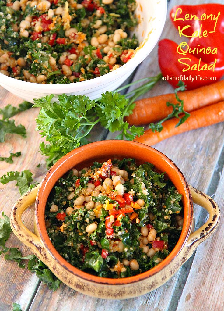 This healthy Lemony Kale Quinoa salad is soon to be one of your favorite salad recipes! A mixture of kale, quinoa, white beans, peppers, and carrots, the secret is in the lemon vinaigrette! I make a batch for the week and I can't keep it in the house, that's how good it is! Gluten free, vegetarian and vegan (simply substitute another sweeter for the honey in the vinaigrette) Would make a great side dish for your Christmas dinner menu.   adishofdailylife.com