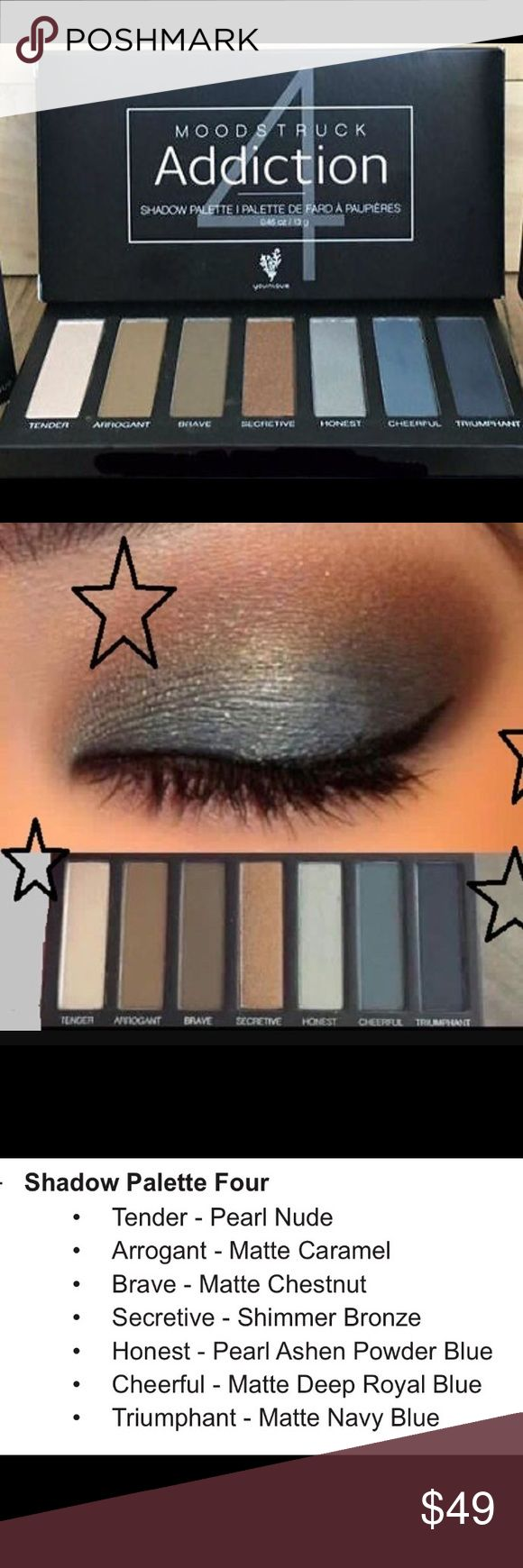 Younique Addiction Palette 4 NIB New in box - seven crease-resistant, long-wearing, buildable colors. The shadows apply dry for adjustable coverage or wet for more intense color and deliver smooth, long-lasting looks. Addicted yet? Younique Makeup Eyeshadow