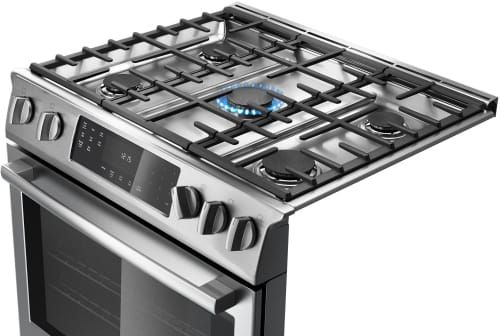 Bosch HDI8054U 30 Inch Slide-in Dual-Fuel Range with 5 Sealed Burners, 4.6 cu. ft. European Convection Oven, 18,000 BTU Center Burner, Star-K Certified Sabbath Mode, Warming Drawer and Self-Cleaning Modes