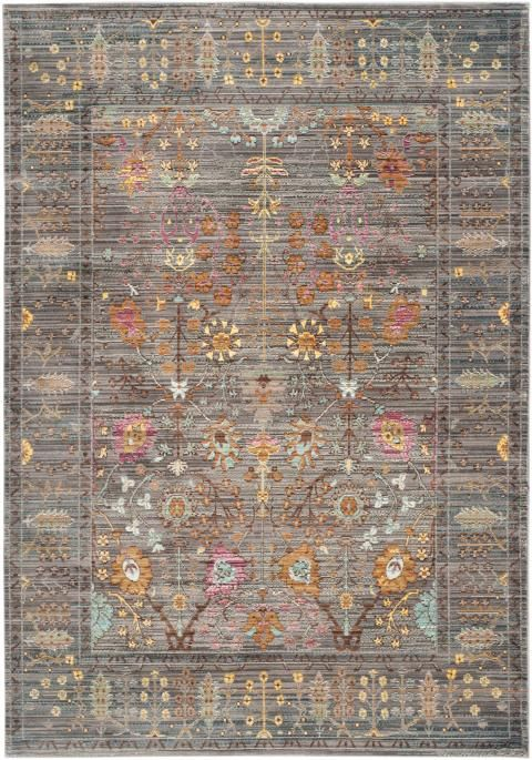 Grey Floral Design Area Rug