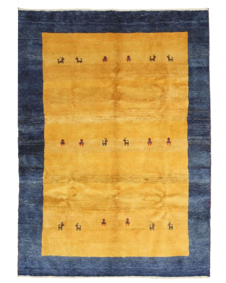 Hand-knotted Wool Blue Traditional Oriental Gabbeh Rug (6'9 x 9'4)