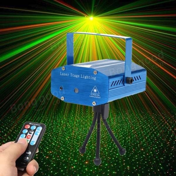Mini R&G Auto/Voice Control LED Laser Stage Light Projector With Remote For Xmas Party KTV Disco Sale-Banggood.com