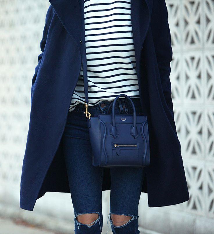 So Blue via BrooklynBlonde.com / @Helena Glazer Coat: Vince   Turtleneck: Petit Bateau   Jeans: Topshop   Flats: Nicholas Kirkwood   Handbag: Celine Nano Monday, October 12, 2015