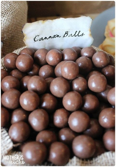 Cannon balls + Other fun Pirate Party Ideas. Pirate themed birthday party for kids.