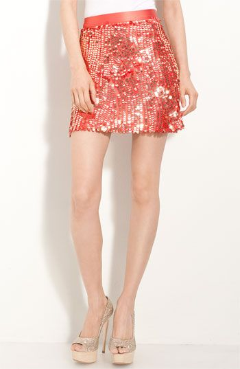 Alice + Olivia Sequin Miniskirt | Nordstrom || the red and gold glimmering + the shape of the sequins remind me of koi