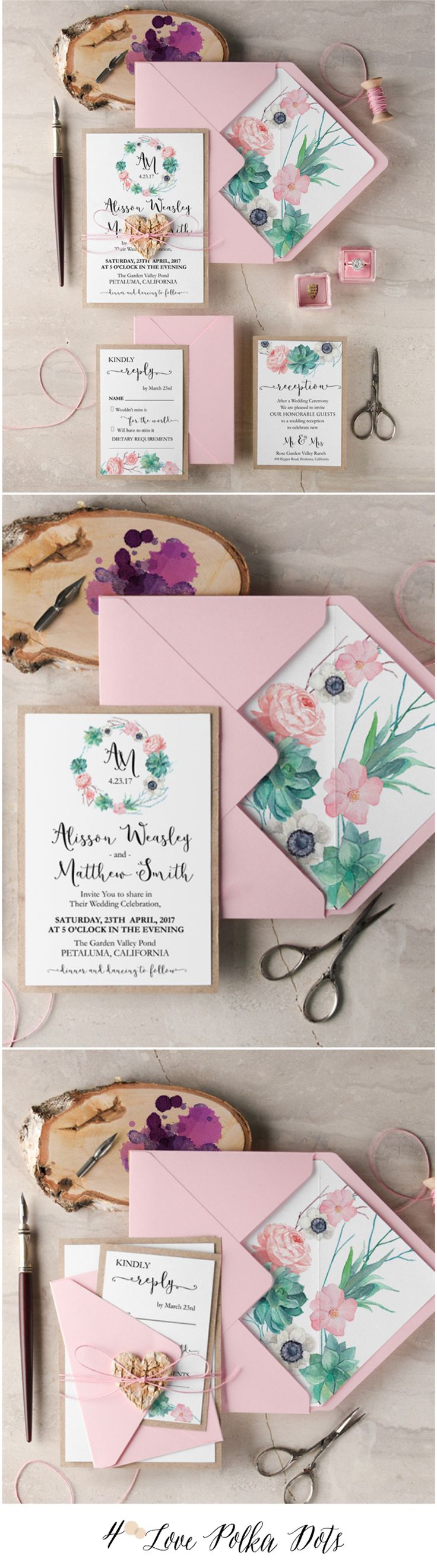 Rustic Eco Wedding Invitations with floral printing #pink #eco #weddinginvitations #floral #flowers #botanical #weddingideas #calligraphy