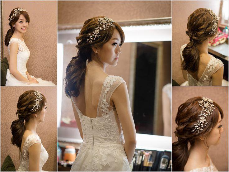 新秘Yuki│新娘造型│白紗進場造型│低馬尾│韓系