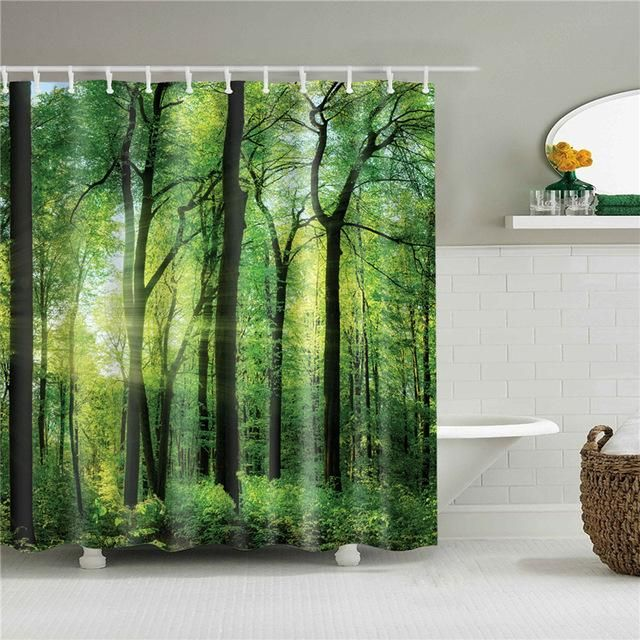 Forest Morning Light Fabric Shower Curtain In 2020 Fabric Shower Curtains Shower Curtain Art Curtains