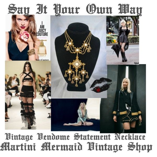 Say It Your Own Way.... Vintage Vendome Statement Runway Necklace by martinimermaid on Polyvore featuring Sonia Rykiel, Vivienne Westwood and vintage