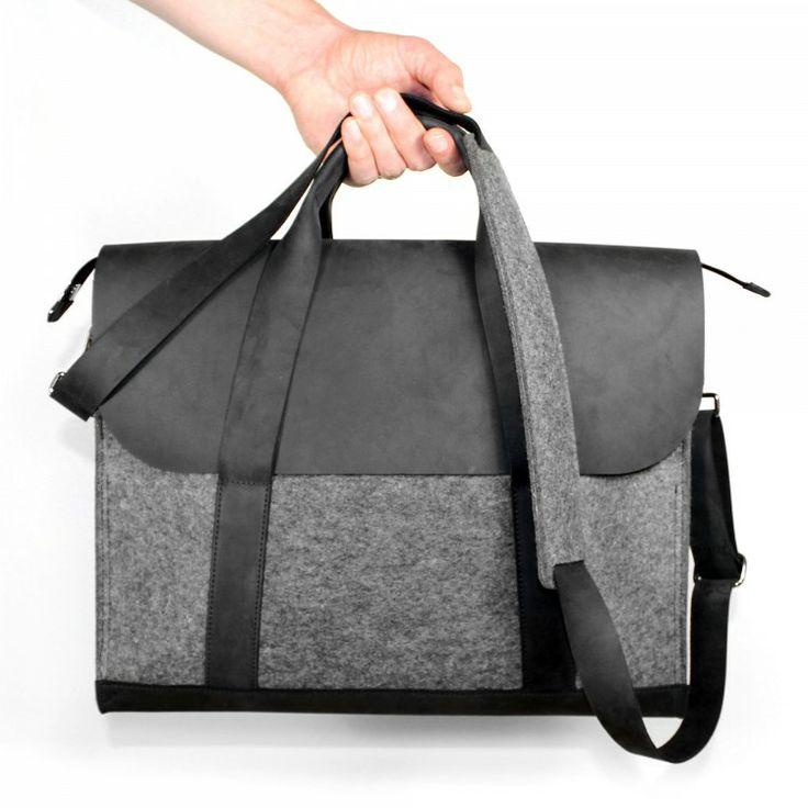 Tasche aus schwarzem Leder & grauem Filz - VANDEBAG