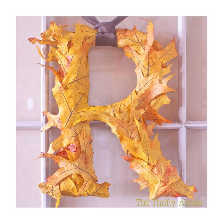 Fall Leaf Initial - The Thrifty Abode: Leaf Initials, Ideas, Fall Leaves, Fall Decor, Fall Crafts, Front Doors, Fall Wreaths, Fall Leaf, Diy