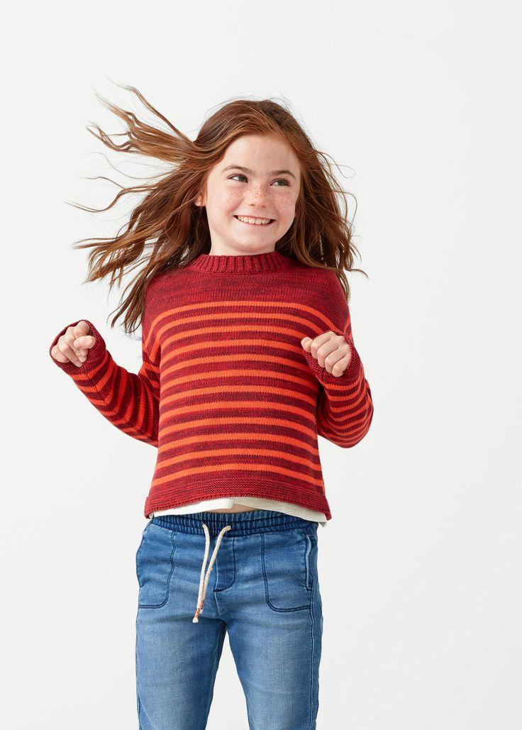 Gestreepte katoenen trui -  Kinderen | MANGO Kids België