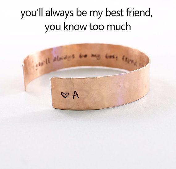 Personalized best friend jewelry hand stamped cuff door NatureLook, $44.00