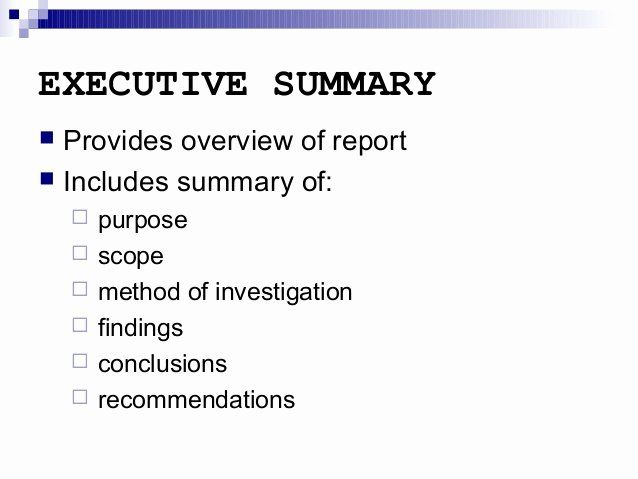 Executive Summary Report Example Template In 2020 With Images