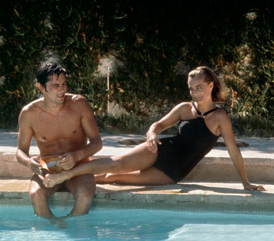 Romy Schneider et Alain Delon sur le tournage de La Piscine