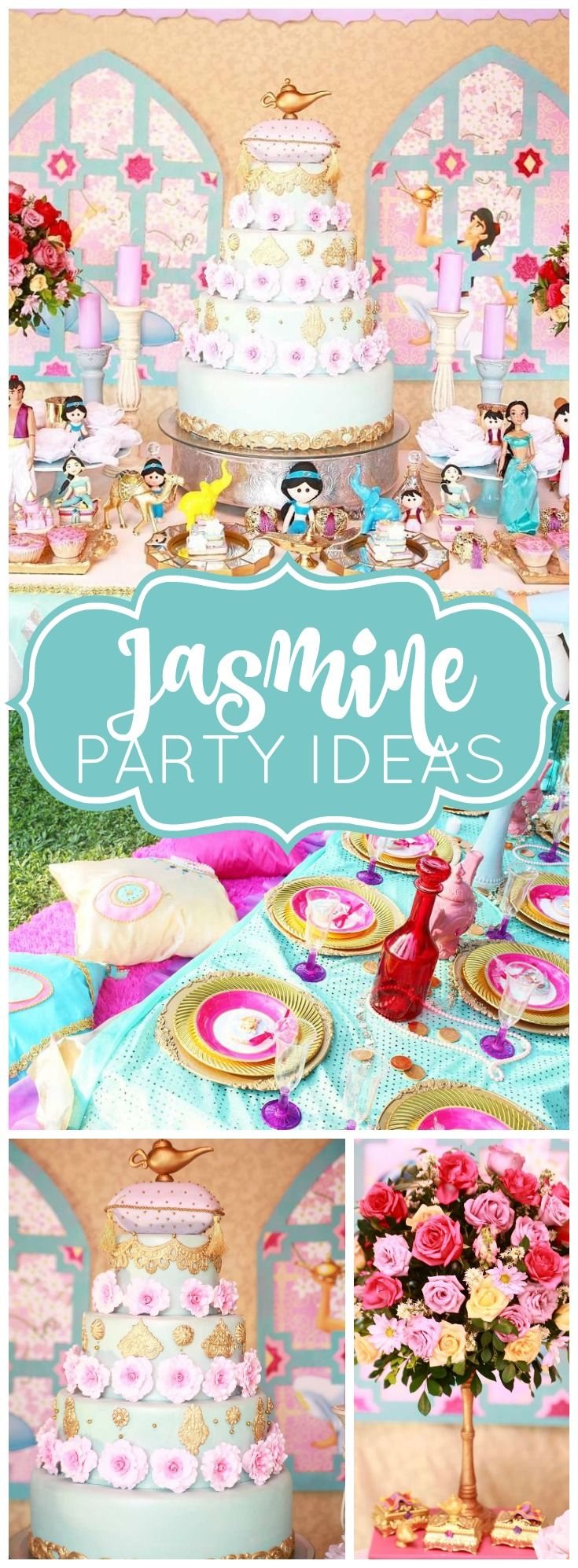 What a elaborate Aladdin and Jasmine birthday party! See more party ideas at CatchMyParty.com!