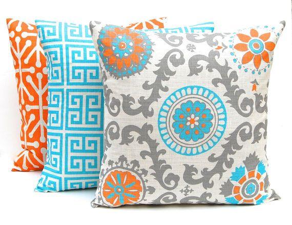 Turquoise Pillows, Orange Pillows, Decorative Throw Pillow Covers Three Turquoise Orange and Gray on Natural All Sizes Turquoise Orange
