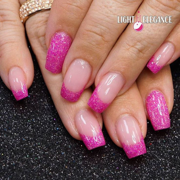 Pink And Blue Glitter Nail Polish: Hot Pink Glitter Gel From Light Elegance By @lightelegance