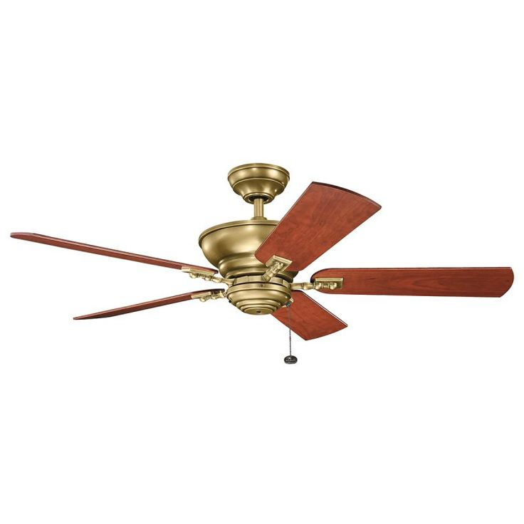 """Kichler 300243 52"""" Indoor Ceiling Fan with Blades Downrod and Pull Chain Natural Brass Fans Ceiling Fans Indoor Ceiling Fans"""