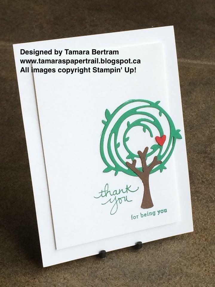 Handmade Greeting Cards; Swirly Bird; Swirly Scribbles; Tree Builder; Endless Thanks; Stampin' Up!; 2016 Catalogue; Tamara's Paper Trail