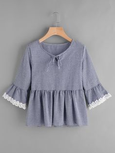 Shop Gingham Bell Sleeve Lace Trim Smock Top online. SheIn offers Gingham Bell Sleeve Lace Trim Smock Top & more to fit your fashionable needs.