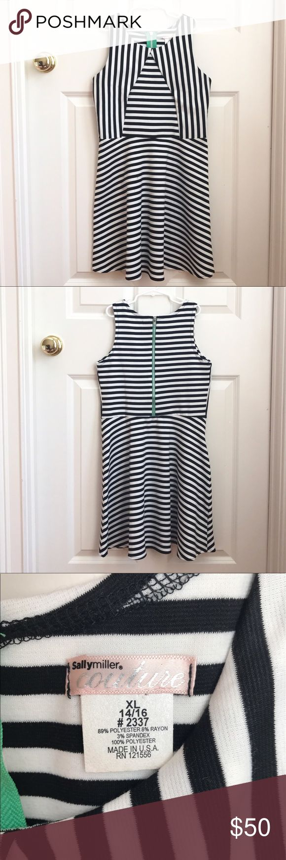 Black & White Striped Sally Miller Dress Very cute and chic black and white striped Sally Miller dress!! This dress is a girls/pre-teen size XL. I only wore it once or twice and it's still in great condition!! You can no longer find this dress in Sally Miller stores or online. Sally Miller Dresses