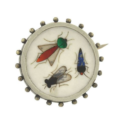 Victorian Sterling Pietra Dura Inlaid Stone Insect Motif Pin