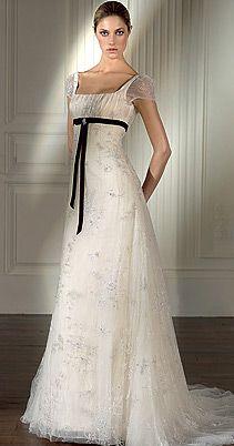 ♔ XIX Century- Empire style wedding dress