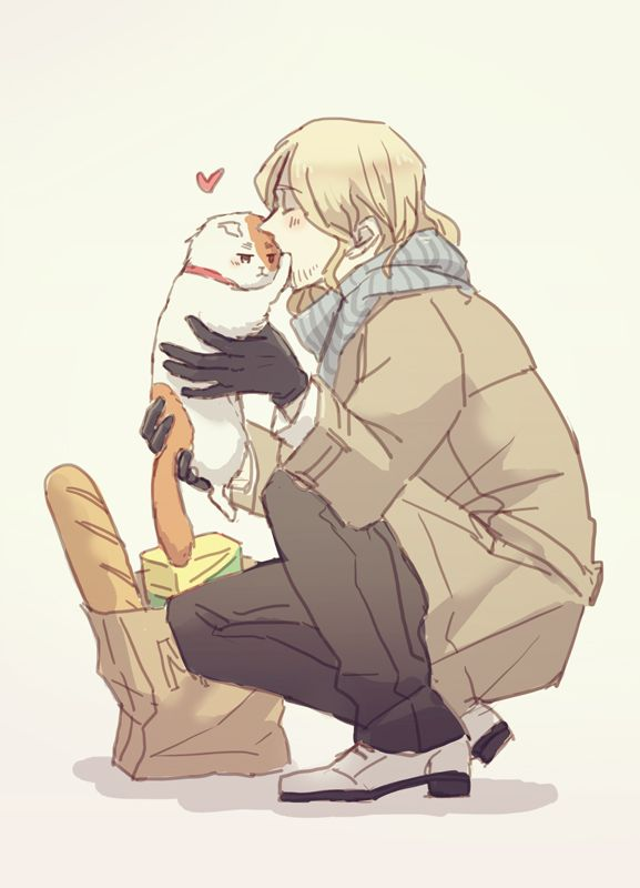 Hetalia France and Iggycat. I don't really like FrUK, but this artwork is just too cute