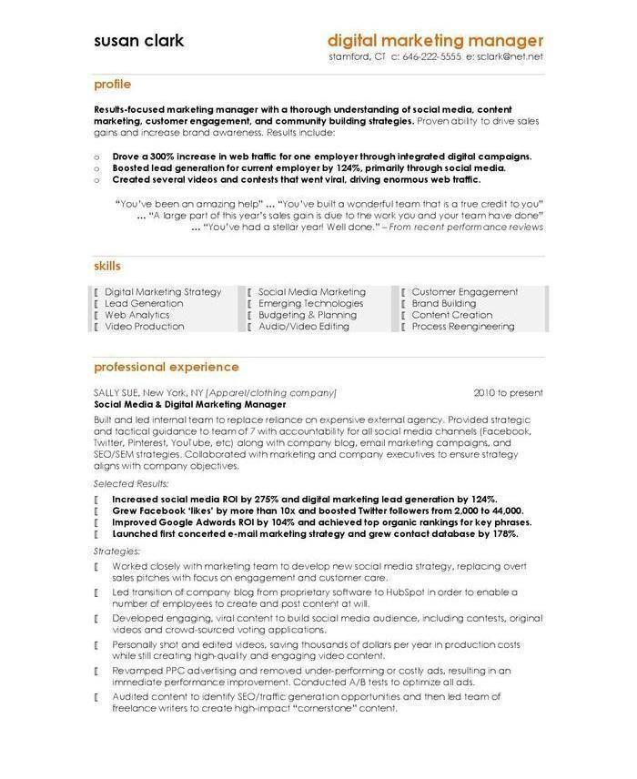 The 10 Best Digital Marketing Cv Resume Examples Marketing Resume Resume Examples Cv Examples