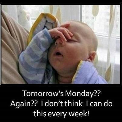 Tomorrow's Monday?? Again?? I don't think I can do this every week!