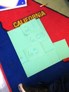 """Game to help the students really get the """"lining up the decimals"""" even when given whole numbers! (so tricky for them)"""