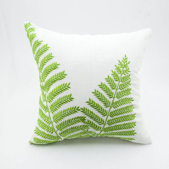 Fern Pillow Cover, Cream Linen Green Leaf Embroidery, Home Decor, Floral Throw Pillow, Leaf Cushion Cover, Pillow Shams, Fern Bedding